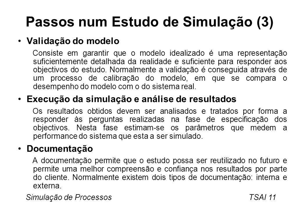 Simulação de Processos TSAI 11 Passos num Estudo de Simulação (3) Validação do modelo Consiste em garantir que o modelo idealizado é uma representação suficientemente detalhada da realidade e suficiente para responder aos objectivos do estudo.