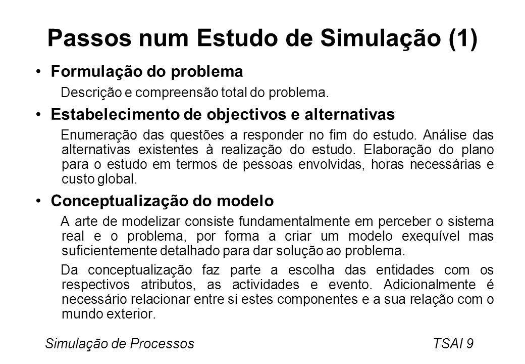 Simulação de Processos TSAI 9 Passos num Estudo de Simulação (1) Formulação do problema Descrição e compreensão total do problema. Estabelecimento de