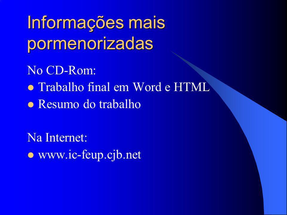 Informações mais pormenorizadas No CD-Rom: Trabalho final em Word e HTML Resumo do trabalho Na Internet: www.ic-feup.cjb.net