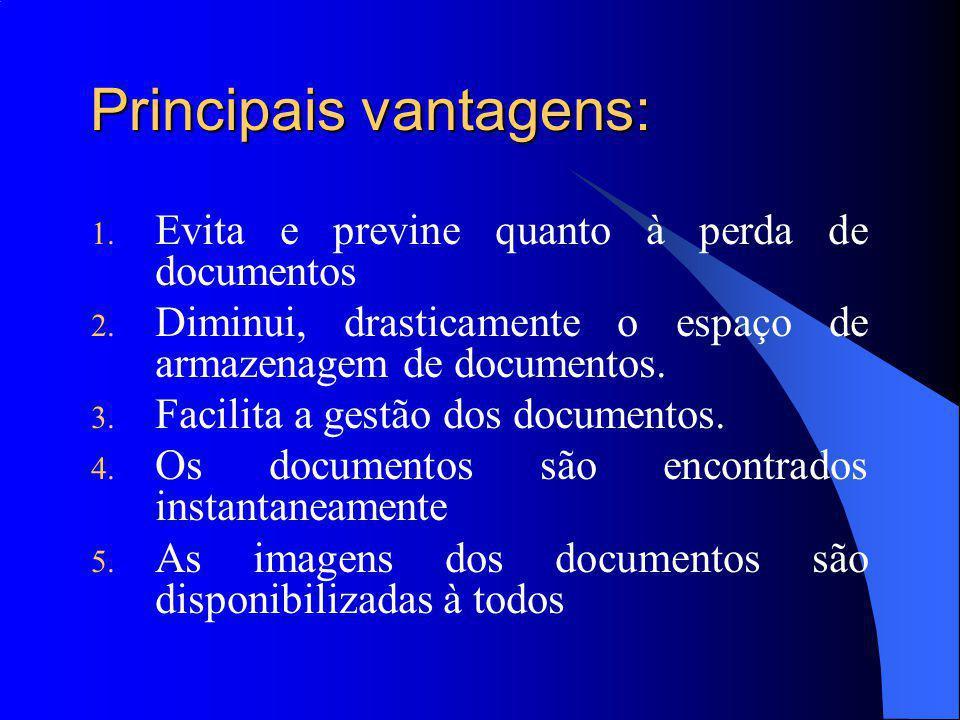 Principais vantagens: 1. Evita e previne quanto à perda de documentos 2.