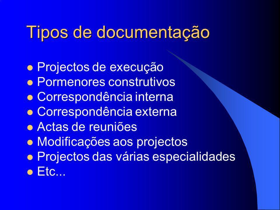 Tipos de documentação Projectos de execução Pormenores construtivos Correspondência interna Correspondência externa Actas de reuniões Modificações aos projectos Projectos das várias especialidades Etc...