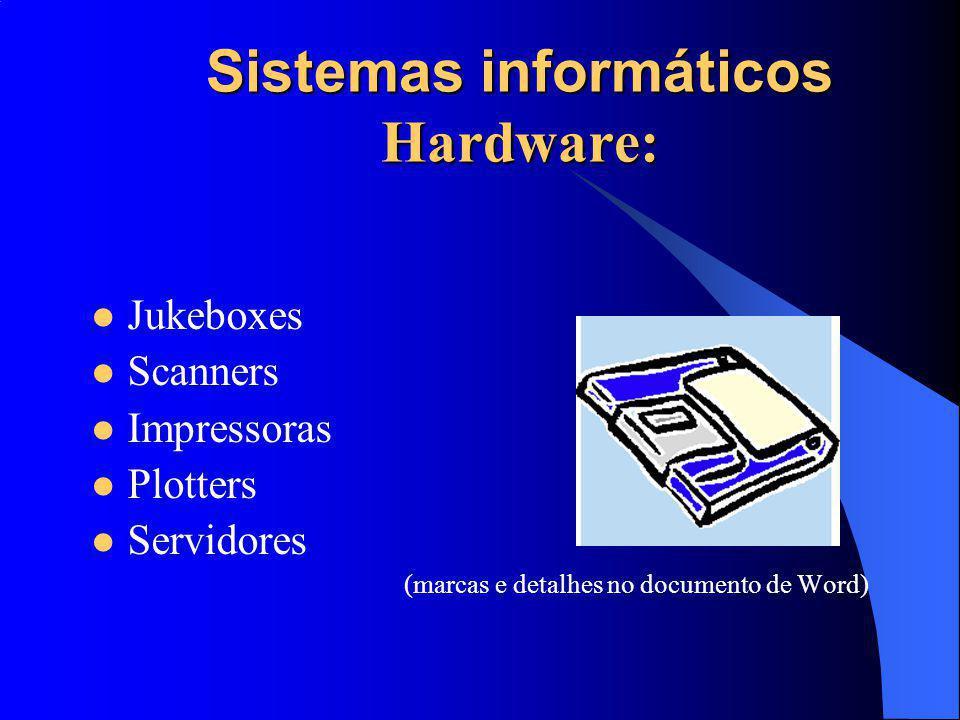 Sistemas informáticos Hardware: Jukeboxes Scanners Impressoras Plotters Servidores (marcas e detalhes no documento de Word)