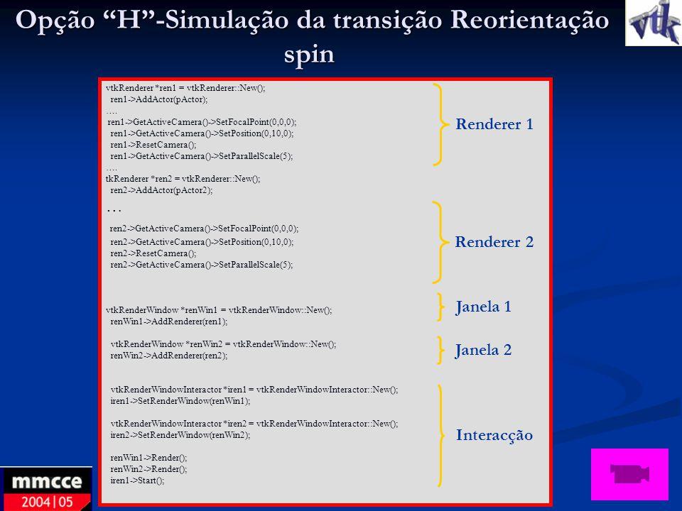Opção H-Simulação da transição Reorientação spin Opção H-Simulação da transição Reorientação spin vtkRenderer *ren1 = vtkRenderer::New(); ren1->AddAct