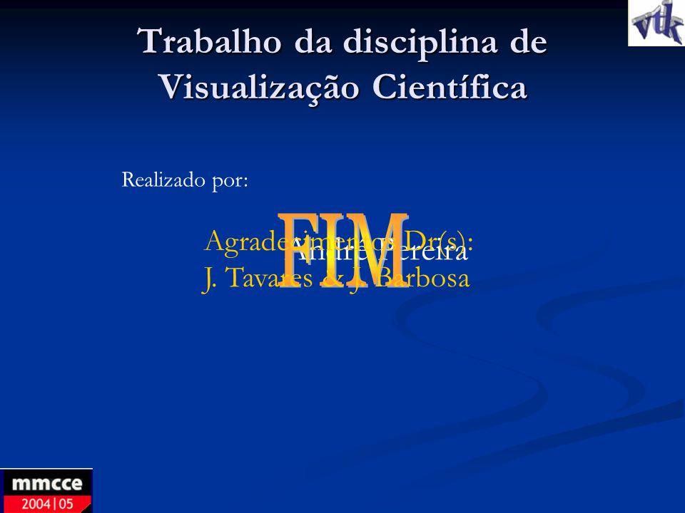 Trabalho da disciplina de Visualização Científica Realizado por: André Pereira Agradecimentos Dr(s): J. Tavares & J. Barbosa