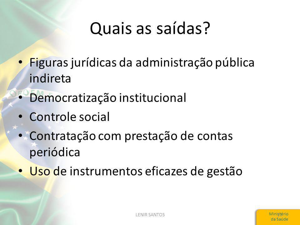 Ministério da Saúde Quais as saídas.