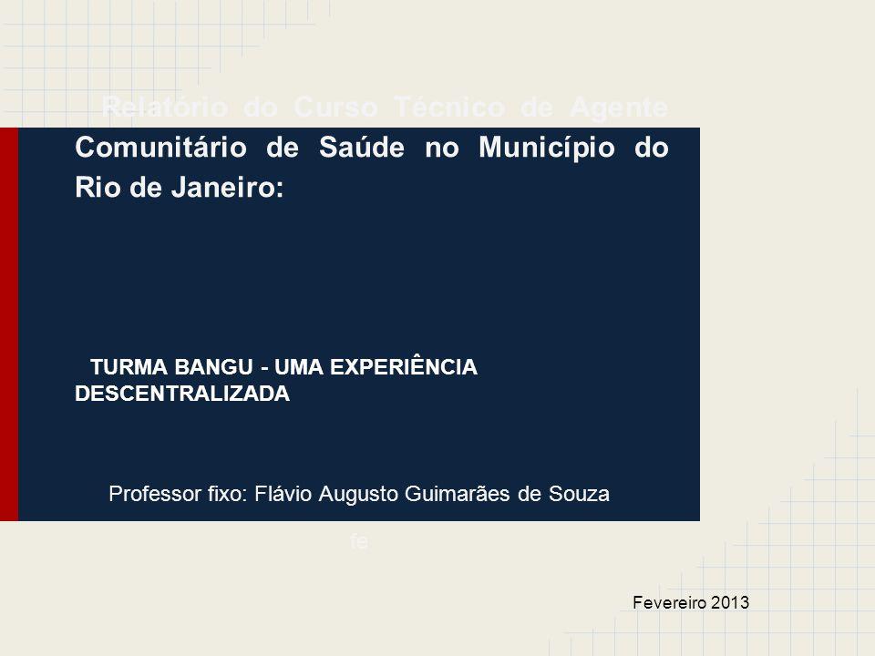 Relatório do Curso Técnico de Agente Comunitário de Saúde no Município do Rio de Janeiro: TURMA BANGU - UMA EXPERIÊNCIA DESCENTRALIZADA Professor fixo