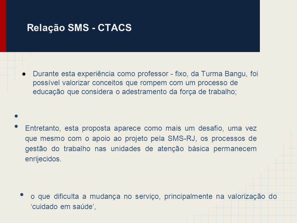 Relação SMS - CTACS o que dificulta a mudança no serviço, principalmente na valorização do cuidado em saúde, Entretanto, esta proposta aparece como ma