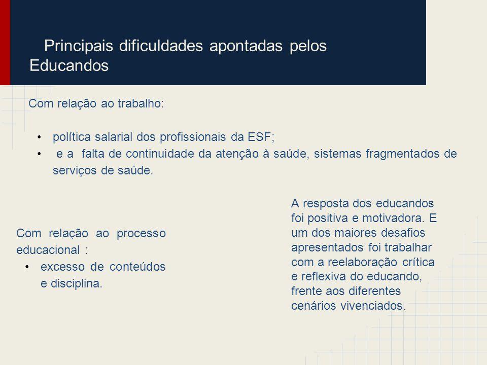 Principais dificuldades apontadas pelos Educandos Com relação ao trabalho: política salarial dos profissionais da ESF; e a falta de continuidade da at