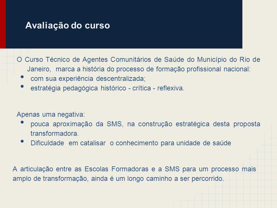 Avaliação do curso O Curso Técnico de Agentes Comunitários de Saúde do Município do Rio de Janeiro, marca a história do processo de formação profissio