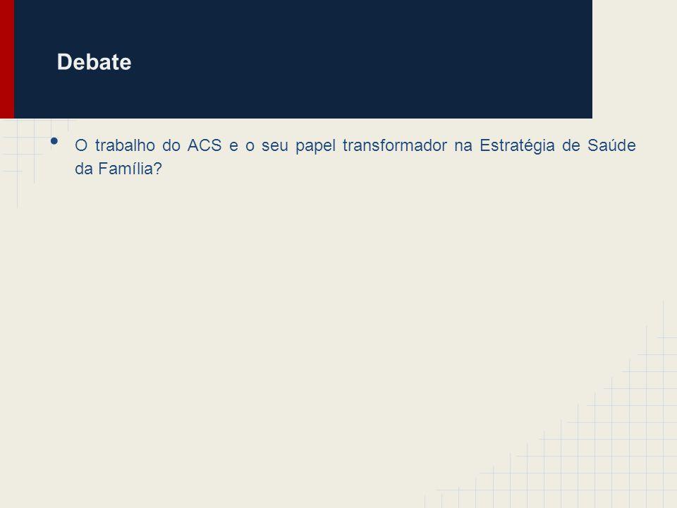 Debate O trabalho do ACS e o seu papel transformador na Estratégia de Saúde da Família?