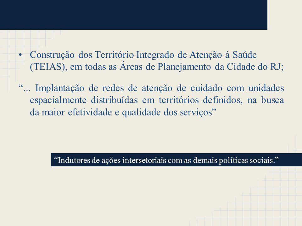 Construção dos Território Integrado de Atenção à Saúde (TEIAS), em todas as Áreas de Planejamento da Cidade do RJ;... Implantação de redes de atenção