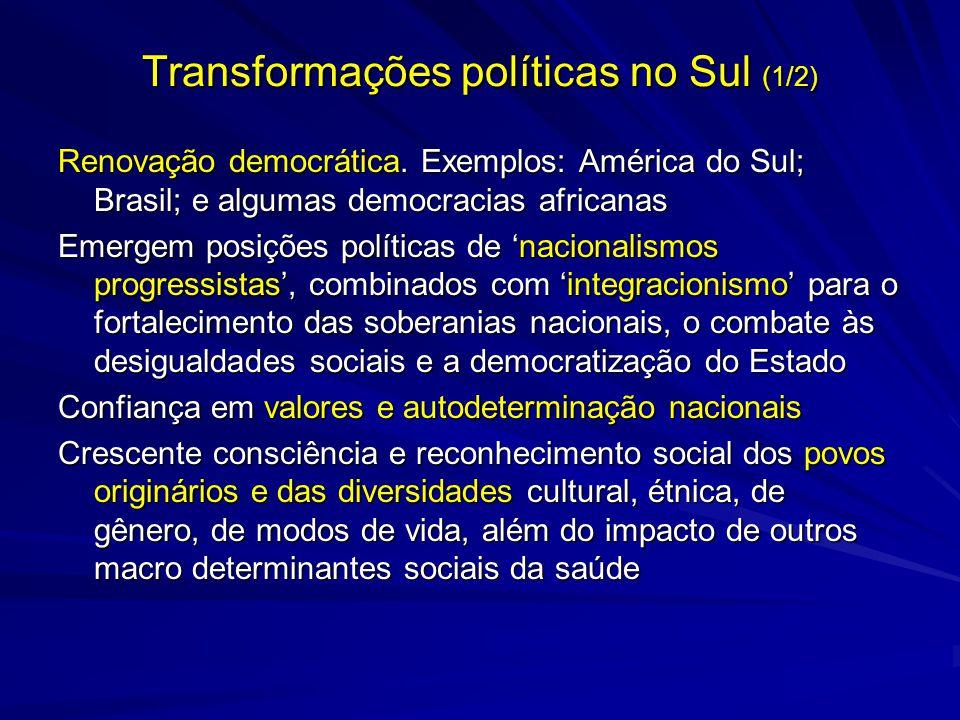 Transformações políticas no Sul (1/2) Renovação democrática. Exemplos: América do Sul; Brasil; e algumas democracias africanas Emergem posições políti