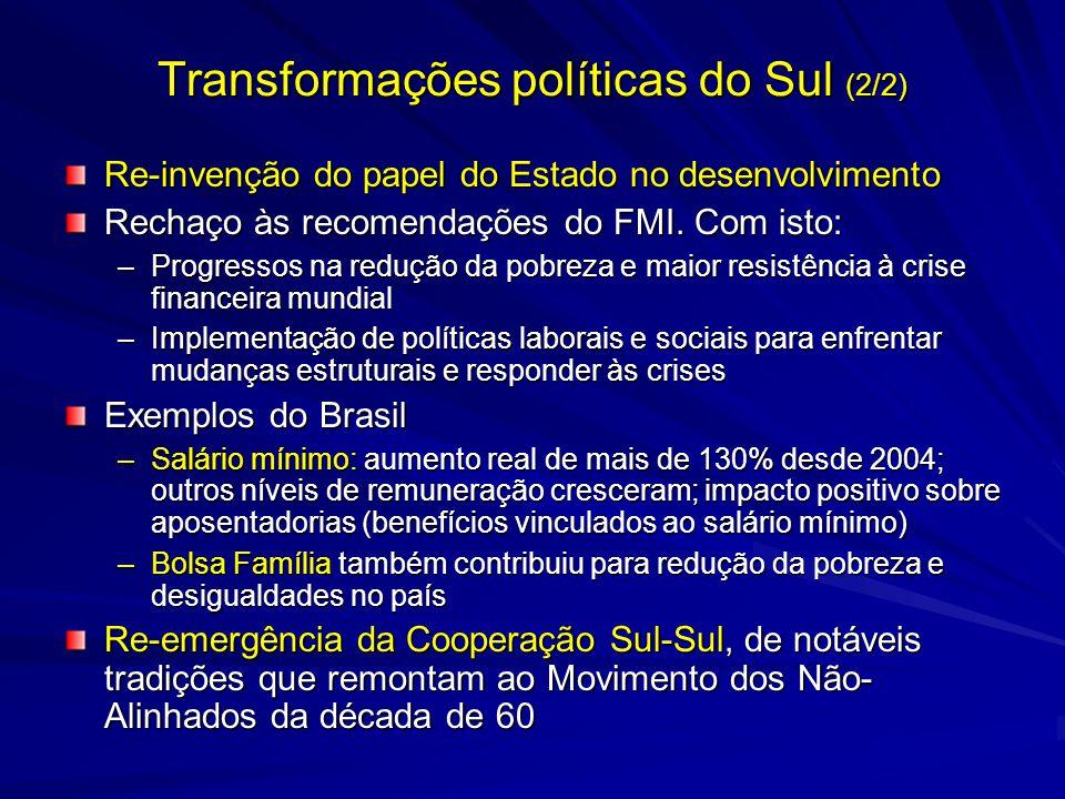 Transformações políticas do Sul (2/2) Re-invenção do papel do Estado no desenvolvimento Rechaço às recomendações do FMI. Com isto: –Progressos na redu