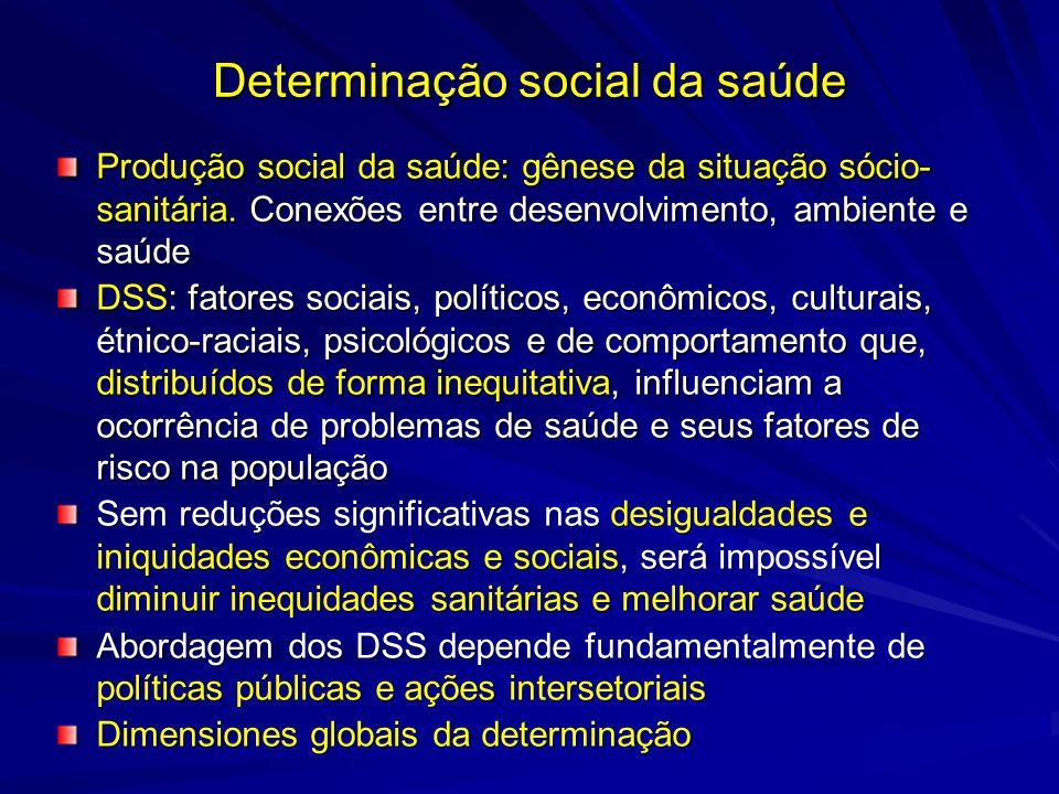 Determinação social da saúde Produção social da saúde: gênese da situação sócio- sanitária. Conexões entre desenvolvimento, ambiente e saúde DSS: fato