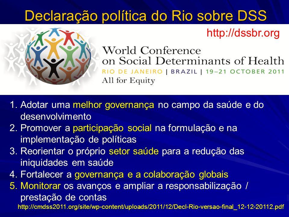 Declaração política do Rio sobre DSS 1.Adotar uma melhor governança no campo da saúde e do desenvolvimento 2.Promover a participação social na formula