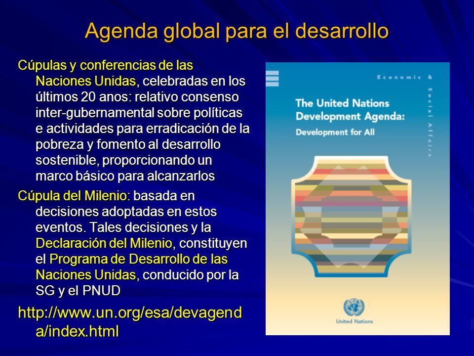 Agenda global para el desarrollo Cúpulas y conferencias de las Naciones Unidas, celebradas en los últimos 20 anos: relativo consenso inter-gubernament