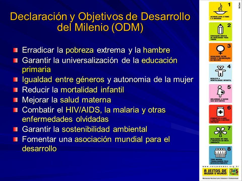 Declaración y Objetivos de Desarrollo del Milenio (ODM) Erradicar la pobreza extrema y la hambre Garantir la universalización de la educación primaria