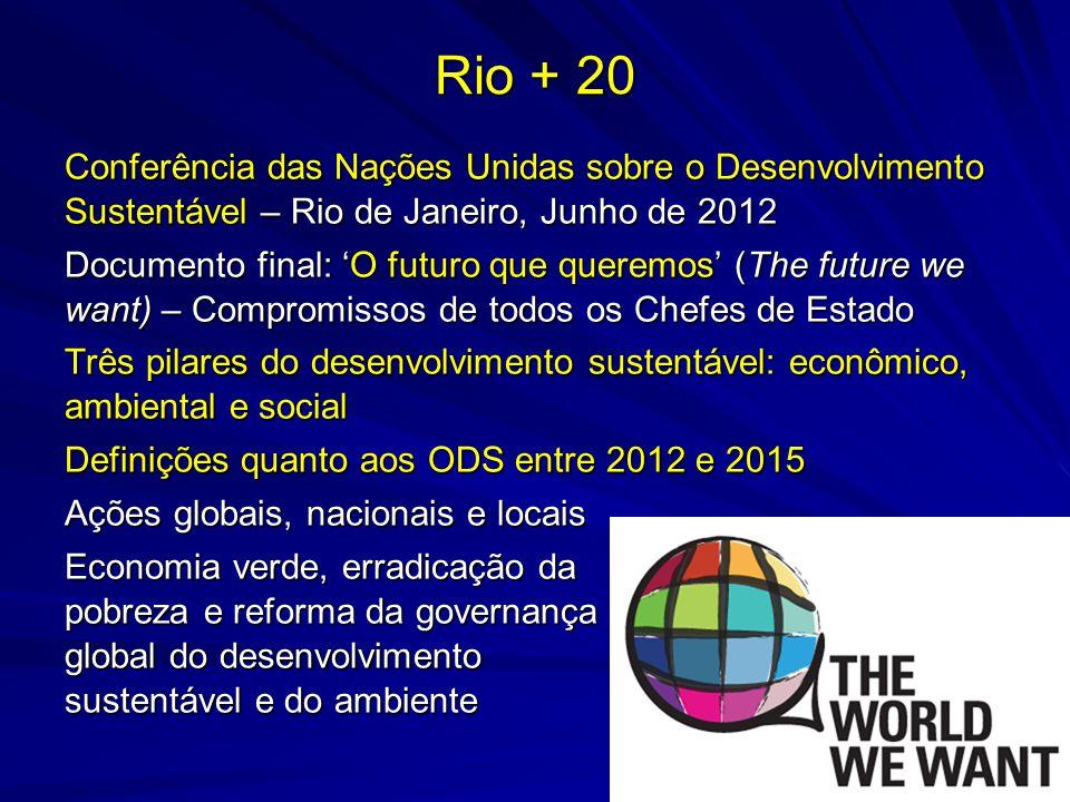 Rio + 20 Conferência das Nações Unidas sobre o Desenvolvimento Sustentável – Rio de Janeiro, Junho de 2012 Documento final: O futuro que queremos (The