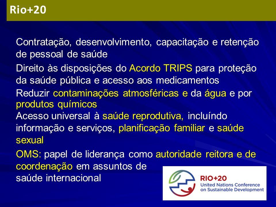 Contratação, desenvolvimento, capacitação e retenção de pessoal de saúde Direito às disposições do Acordo TRIPS para proteção da saúde pública e acess