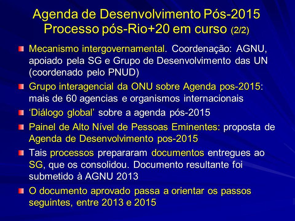 Mecanismo intergovernamental. Coordenação: AGNU, apoiado pela SG e Grupo de Desenvolvimento das UN (coordenado pelo PNUD) Grupo interagencial da ONU s