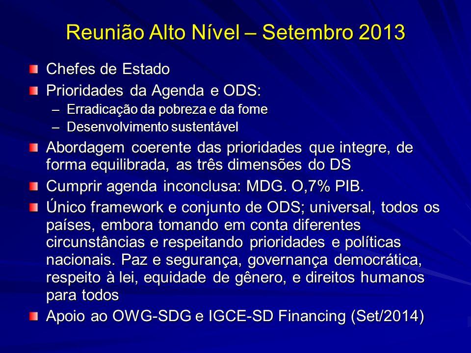 Reunião Alto Nível – Setembro 2013 Chefes de Estado Prioridades da Agenda e ODS: –Erradicação da pobreza e da fome –Desenvolvimento sustentável Aborda