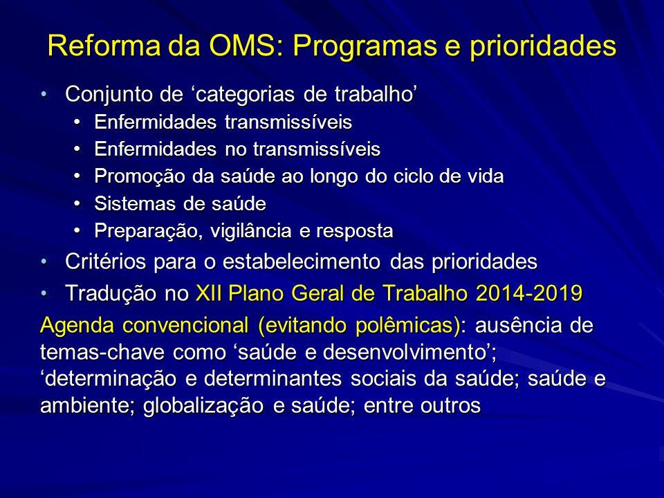 Reforma da OMS: Programas e prioridades Conjunto de categorias de trabalho Conjunto de categorias de trabalho Enfermidades transmissíveisEnfermidades