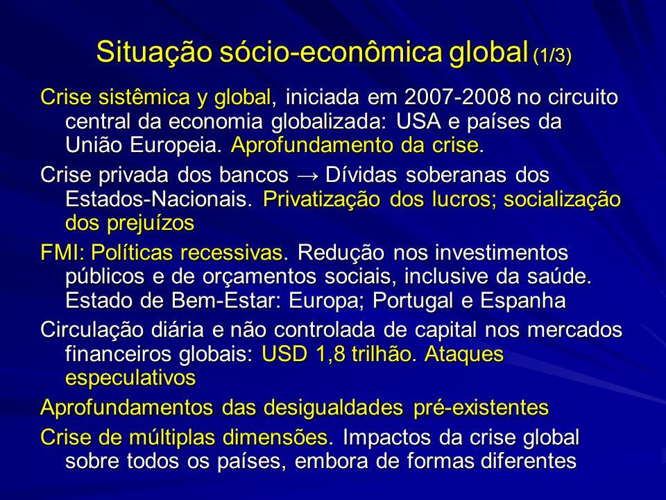 Situação sócio-econômica global (1/3) Crise sistêmica y global, iniciada em 2007-2008 no circuito central da economia globalizada: USA e países da Uni