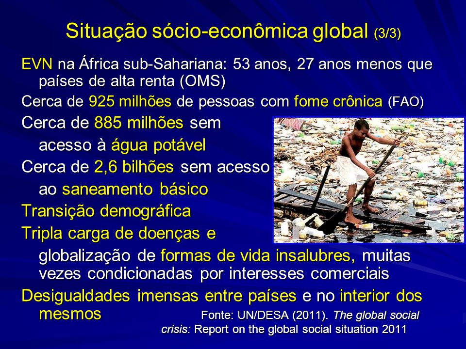 Situação sócio-econômica global (3/3) EVN na África sub-Sahariana: 53 anos, 27 anos menos que países de alta renta (OMS) Cerca de 925 milhões de pesso