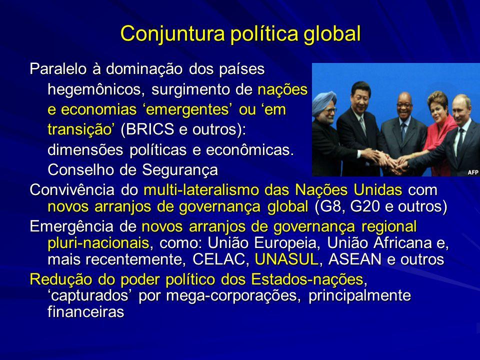 Conjuntura política global Paralelo à dominação dos países hegemônicos, surgimento de nações e economias emergentes ou em transição (BRICS e outros):