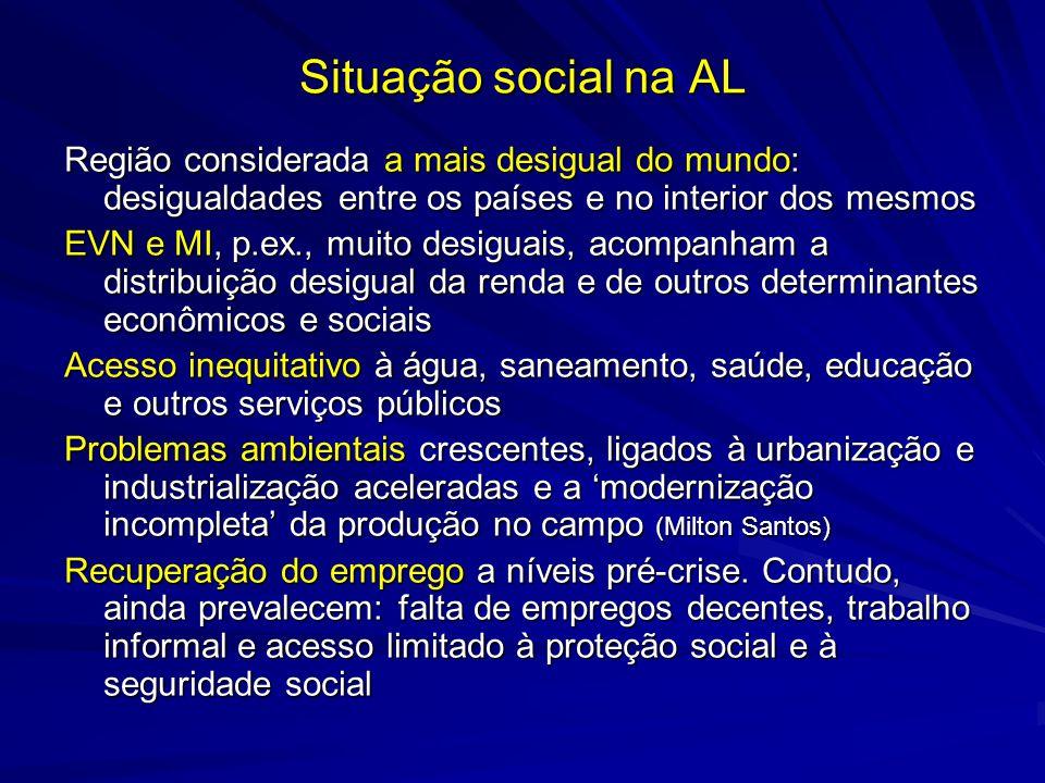 Situação social na AL Região considerada a mais desigual do mundo: desigualdades entre os países e no interior dos mesmos EVN e MI, p.ex., muito desig