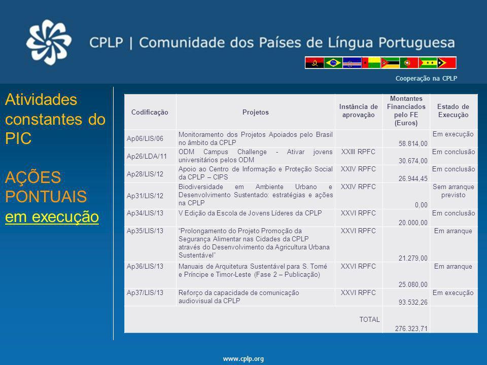 www.cplp.org Cooperação na CPLP Atividades constantes do PIC AÇÕES PONTUAIS em execução CodificaçãoProjetos Instância de aprovação Montantes Financiad