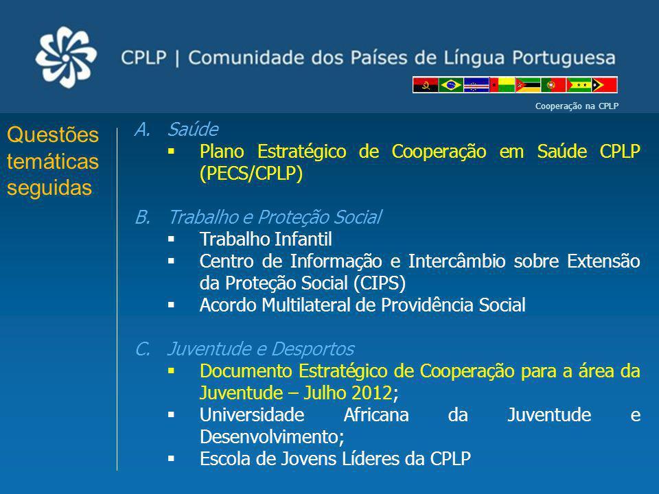 Cooperação na CPLP Questões temáticas seguidas A.Saúde Plano Estratégico de Cooperação em Saúde CPLP (PECS/CPLP) B.Trabalho e Proteção Social Trabalho