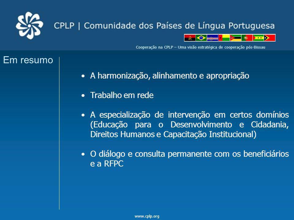 www.cplp.org Cooperação na CPLP – Uma visão estratégica de cooperação pós-Bissau Em resumo A harmonização, alinhamento e apropriação Trabalho em rede