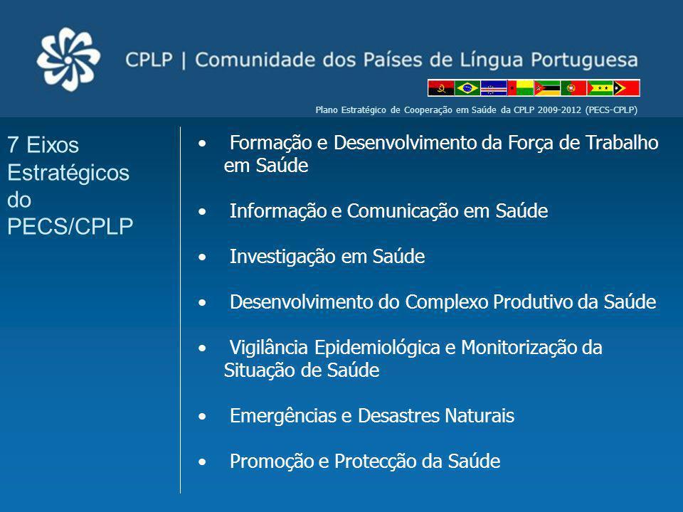 Plano Estratégico de Cooperação em Saúde da CPLP 2009-2012 (PECS-CPLP) Formação e Desenvolvimento da Força de Trabalho em Saúde Informação e Comunicaç