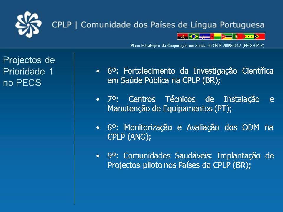 Plano Estratégico de Cooperação em Saúde da CPLP 2009-2012 (PECS-CPLP) 6º: Fortalecimento da Investigação Científica em Saúde Pública na CPLP (BR); 7º