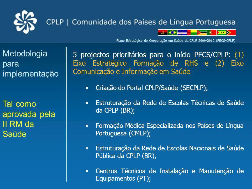 Plano Estratégico de Cooperação em Saúde da CPLP 2009-2012 (PECS-CPLP) 5 projectos prioritários para o início PECS/CPLP: (1) Eixo Estratégico Formação