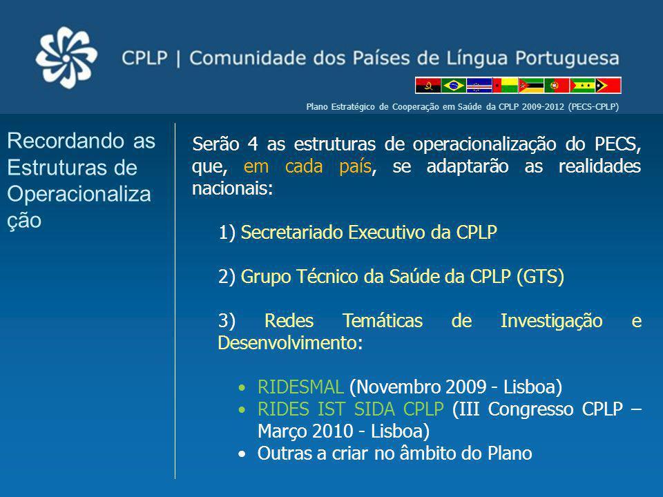 Plano Estratégico de Cooperação em Saúde da CPLP 2009-2012 (PECS-CPLP) Serão 4 as estruturas de operacionalização do PECS, que, em cada país, se adapt