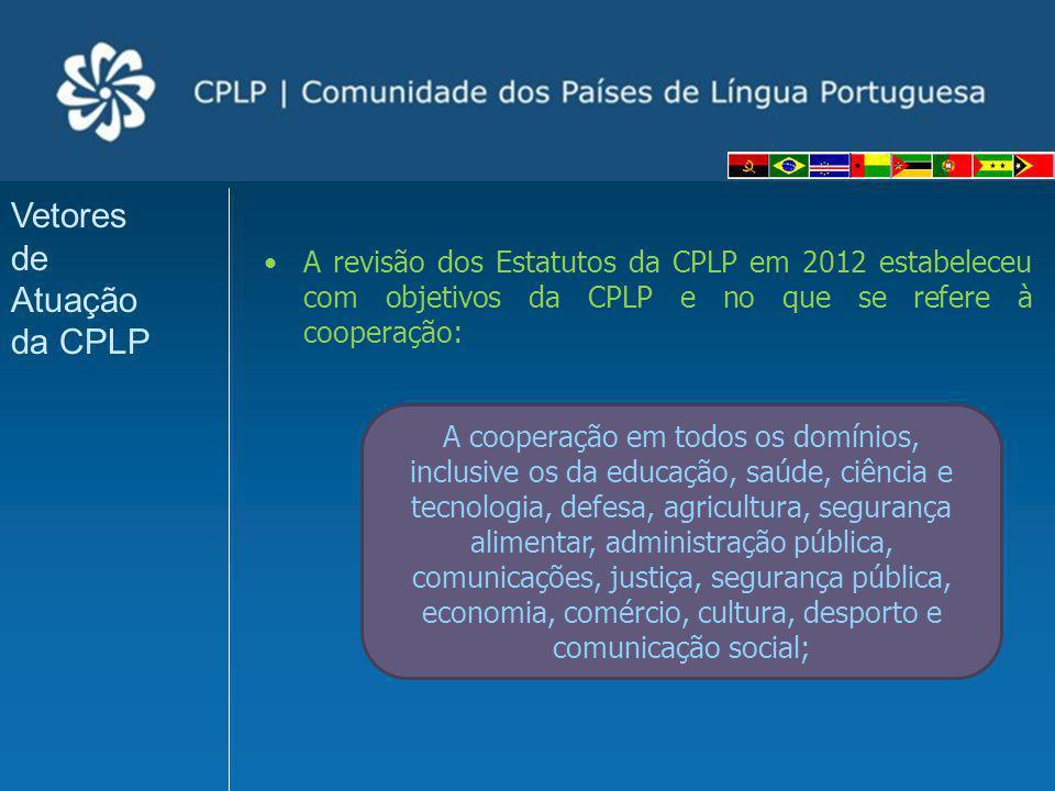 Plano Estratégico de Cooperação em Saúde da CPLP 2009-2012 (PECS-CPLP) 6º: Fortalecimento da Investigação Científica em Saúde Pública na CPLP (BR); 7º: Centros Técnicos de Instalação e Manutenção de Equipamentos (PT); 8º: Monitorização e Avaliação dos ODM na CPLP (ANG); 9º: Comunidades Saudáveis: Implantação de Projectos-piloto nos Países da CPLP (BR); Projectos de Prioridade 1 no PECS