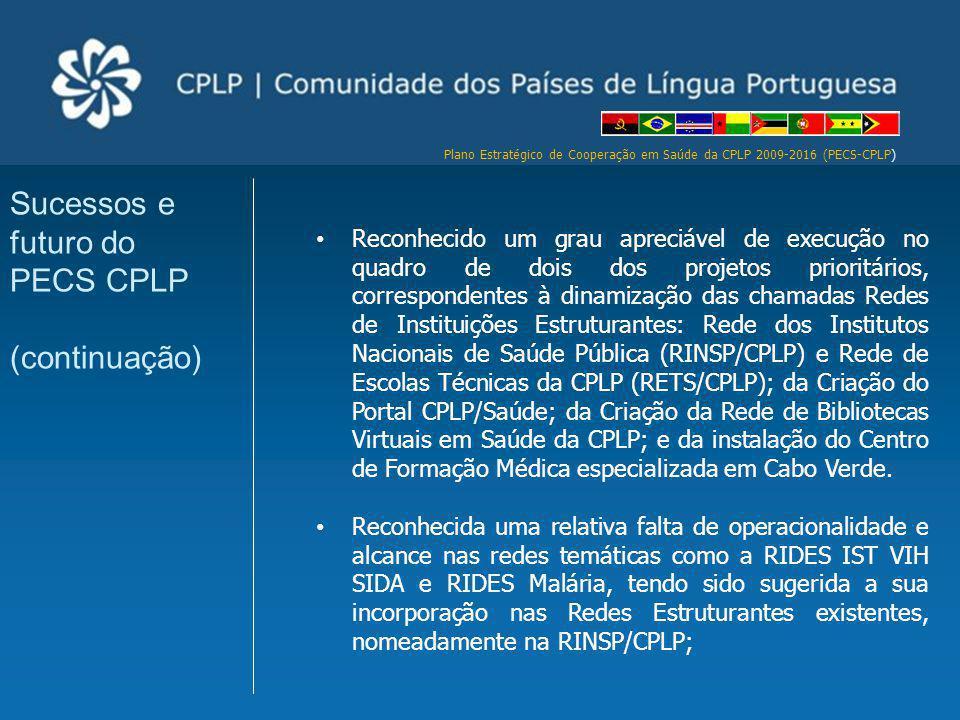 Plano Estratégico de Cooperação em Saúde da CPLP 2009-2016 (PECS-CPLP) Reconhecido um grau apreciável de execução no quadro de dois dos projetos prior