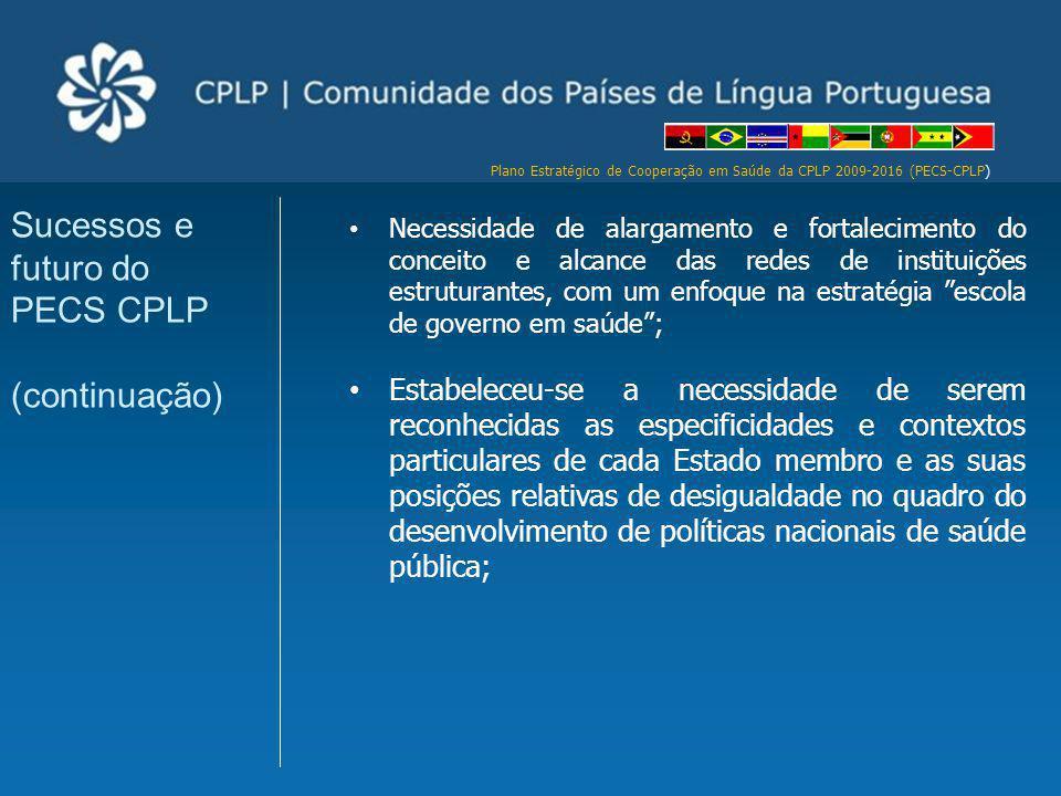 Plano Estratégico de Cooperação em Saúde da CPLP 2009-2016 (PECS-CPLP) Necessidade de alargamento e fortalecimento do conceito e alcance das redes de