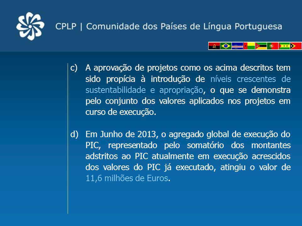 e)Ao se verificar um crescente aumento dos montantes constantes do PIC e um incremento da participação dos Estados membros na Cooperação Comunitária, é possível concluir que a aprovação da Nova visão estratégica de cooperação para a CPLP e do processo de Revisão do Fundo Especial da CPLP, respetivamente pelos XIV e XVI Conselhos de Ministros da CPLP, em Julho de 2009 e 2011, foram passos acertados no fortalecimento do pilar Cooperação da nossa Comunidade.