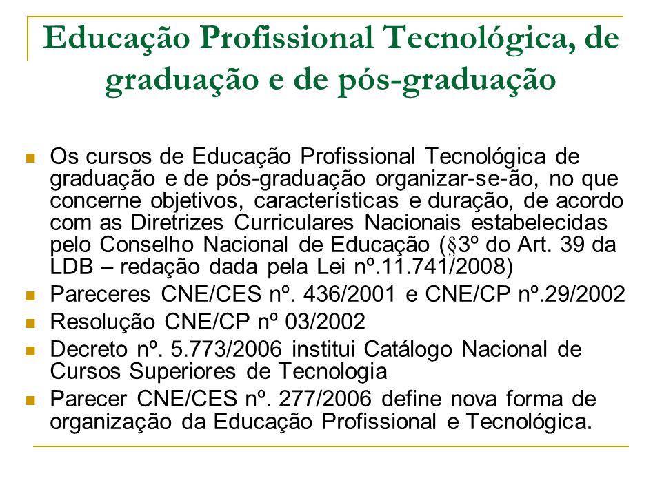 Educação Profissional Tecnológica, de graduação e de pós-graduação Os cursos de Educação Profissional Tecnológica de graduação e de pós-graduação orga