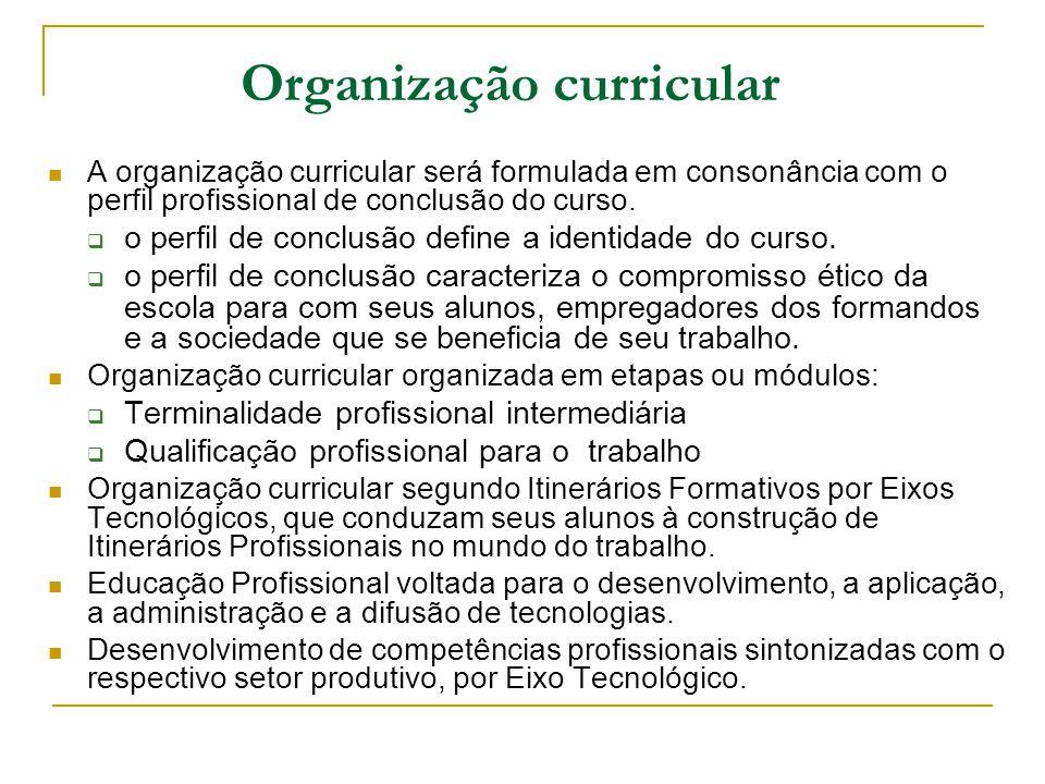 Organização curricular A organização curricular será formulada em consonância com o perfil profissional de conclusão do curso. o perfil de conclusão d