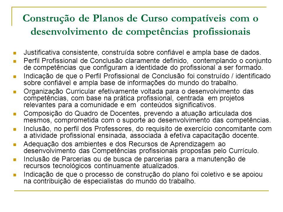 Construção de Planos de Curso compatíveis com o desenvolvimento de competências profissionais Justificativa consistente, construída sobre confiável e
