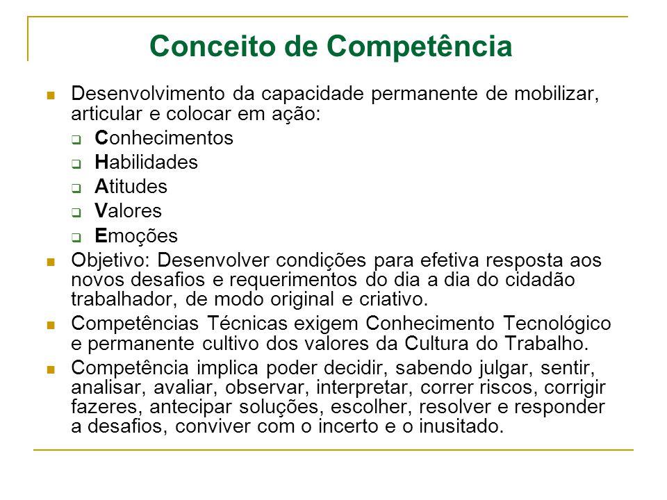 Conceito de Competência Desenvolvimento da capacidade permanente de mobilizar, articular e colocar em ação: Conhecimentos Habilidades Atitudes Valores