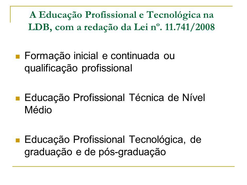 A Educação Profissional e Tecnológica na LDB, com a redação da Lei nº. 11.741/2008 Formação inicial e continuada ou qualificação profissional Educação