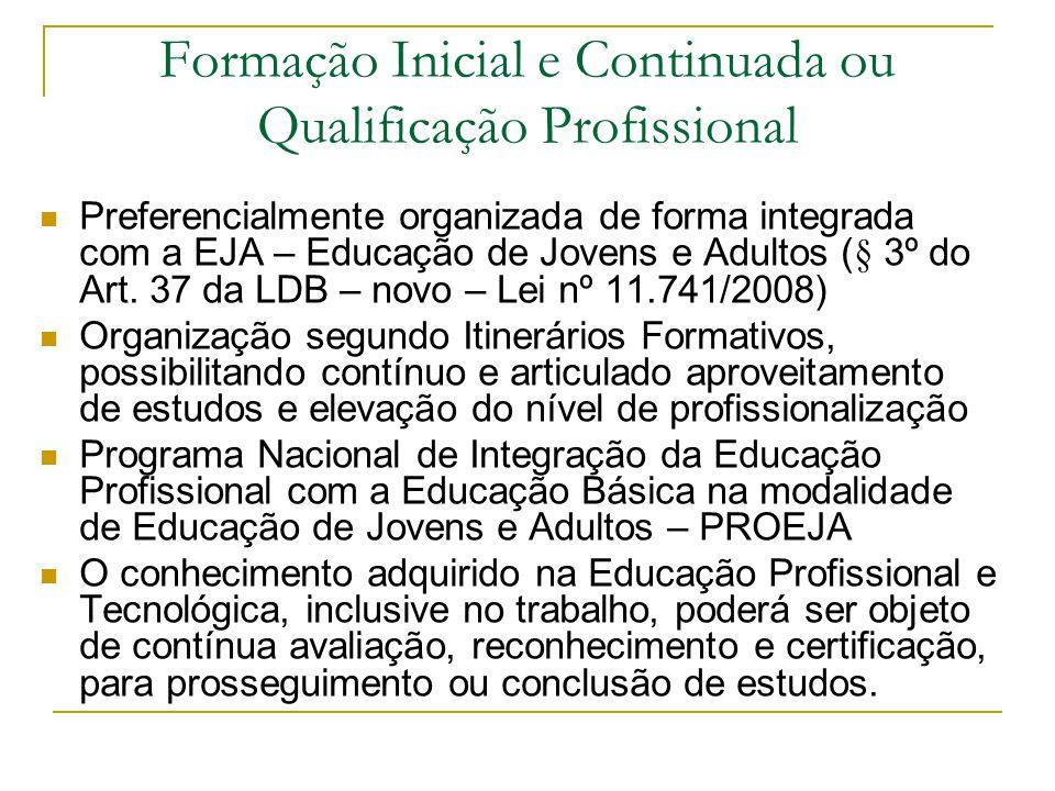 Formação Inicial e Continuada ou Qualificação Profissional Preferencialmente organizada de forma integrada com a EJA – Educação de Jovens e Adultos (§