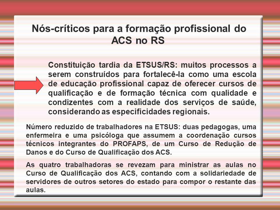 Nós-críticos para a formação profissional do ACS no RS Constituição tardia da ETSUS/RS: muitos processos a serem construídos para fortalecê-la como um
