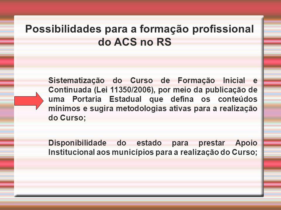 Possibilidades para a formação profissional do ACS no RS Sistematização do Curso de Formação Inicial e Continuada (Lei 11350/2006), por meio da public