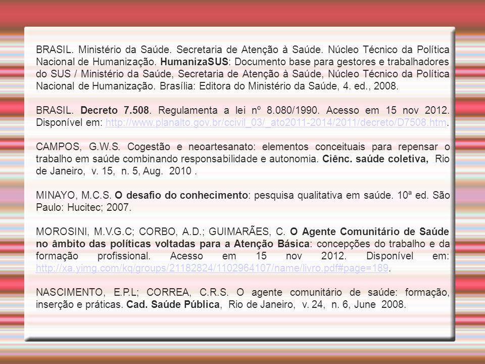 BRASIL. Ministério da Saúde. Secretaria de Atenção à Saúde. Núcleo Técnico da Política Nacional de Humanização. HumanizaSUS: Documento base para gesto
